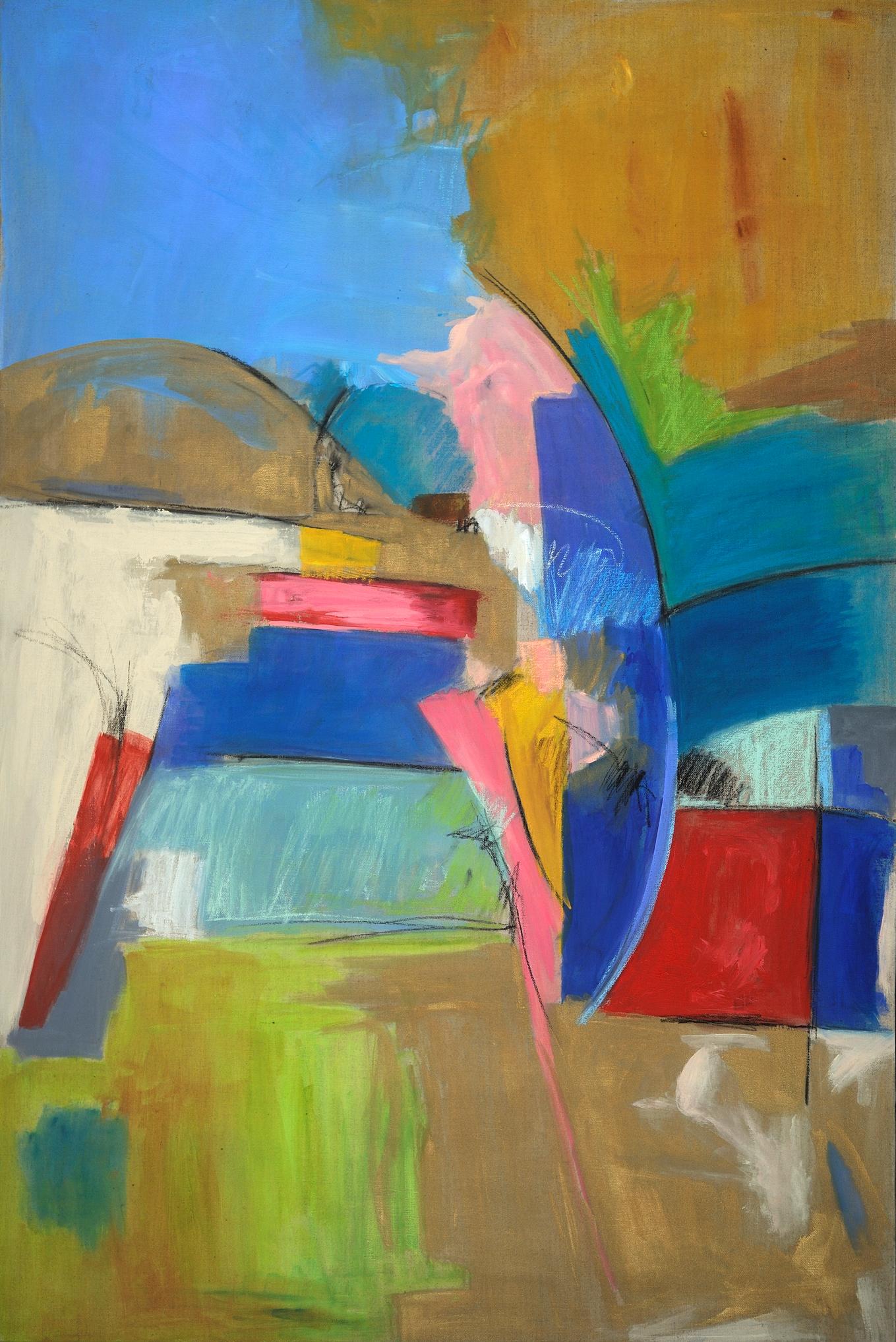 Regarding Marks I w_ BLue 36X24 mixed media on Canvas by Deborah Brisker Burk - large