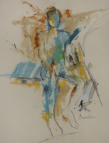 Bodyscape VIII;seated male w_turquoise and bronze; mixed media on paper 26X20 by Deborah Brisker Bur