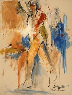 Figurescape VIII Framed Male Figure with blues, browns,earthtones  32X26
