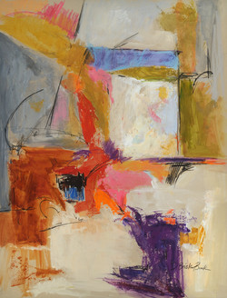 Extensions XI (abstract) 26X20 mixed media on paper by Deborah Brisker Burk - large