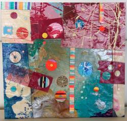 Blue Monday 12x12 mm paint peels on gesso 5