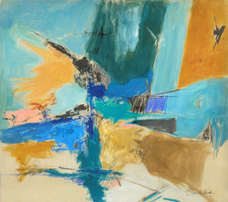 About Blue,  Abstract Considerations, 23, 23X26, mixed media on paper, by Deborah Brisker Burk 10