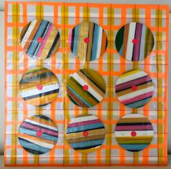 Peaches & Cream 7.25x7.25 mm paint peels on gesso