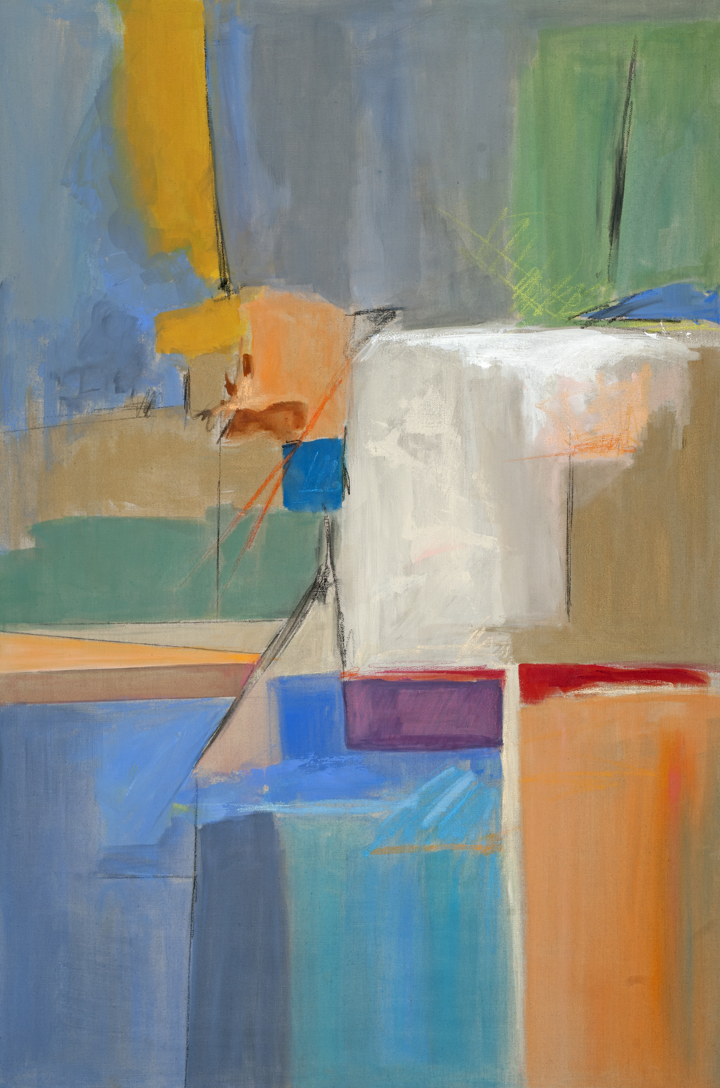 Regarding Markings IV w_ grey, canvas, 36X24, by Deborah Brisker Burk
