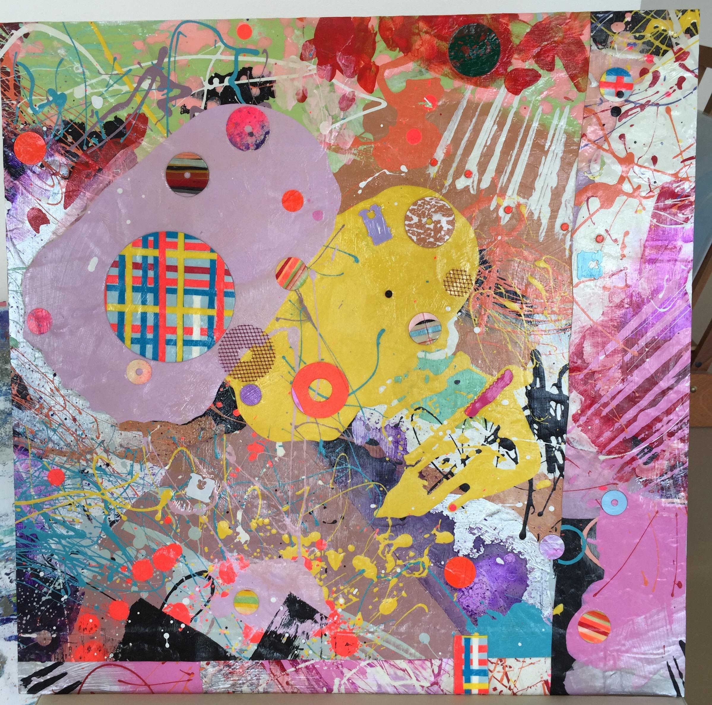Jungle Beat 11x11 mm paint peels on gesso mas