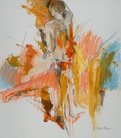 Formscape III Standing Male with oranges, sienna&blue, 26X20 by Deborah Brisker Burk