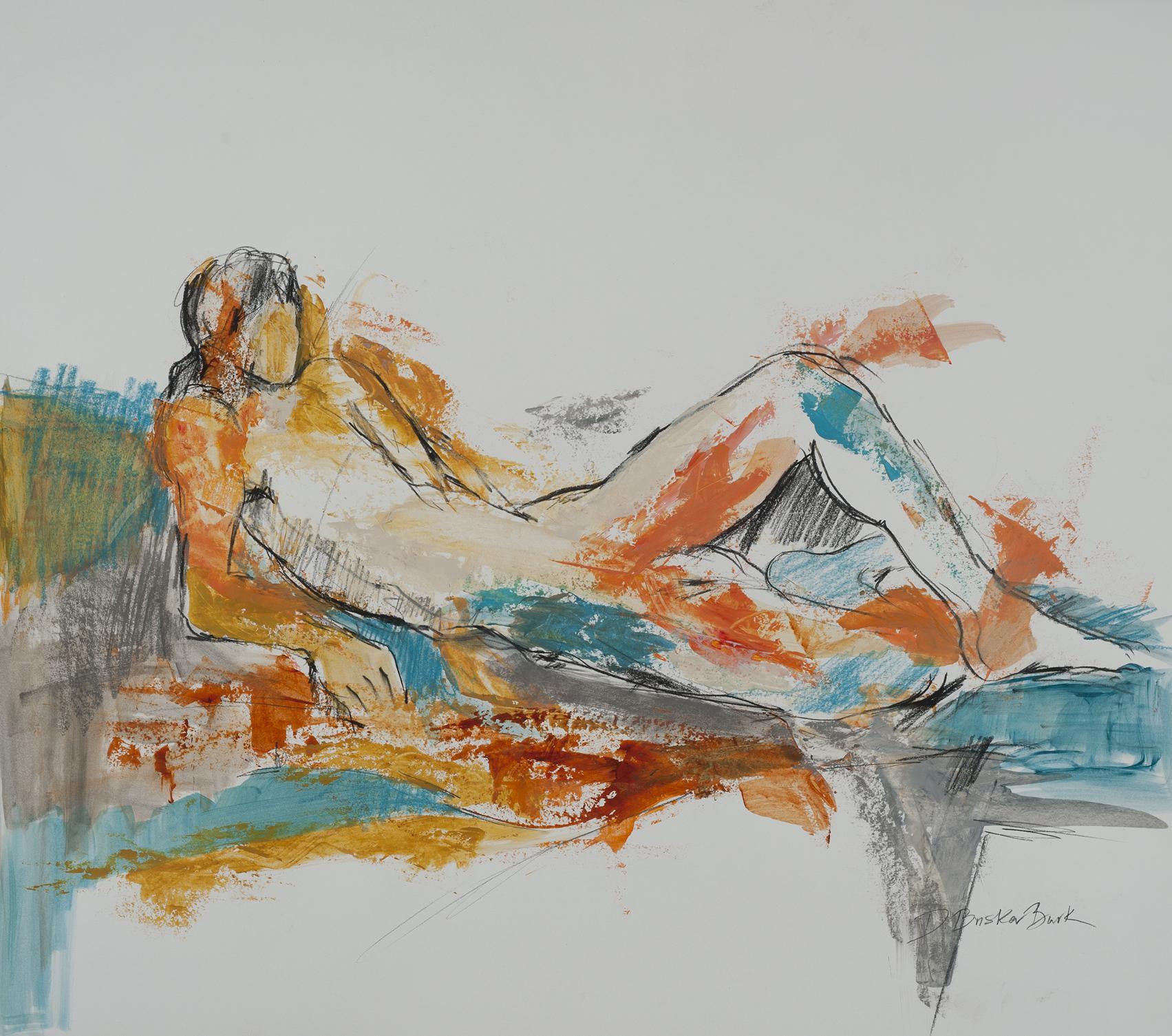 Formscape II, reclining figure w_turquoise & sienna, 26X20, by Deborah Brisker Burk