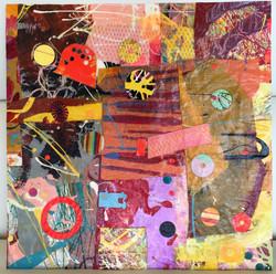 Flunking Clown School 12.75x12.75 mm paint peels on gesso