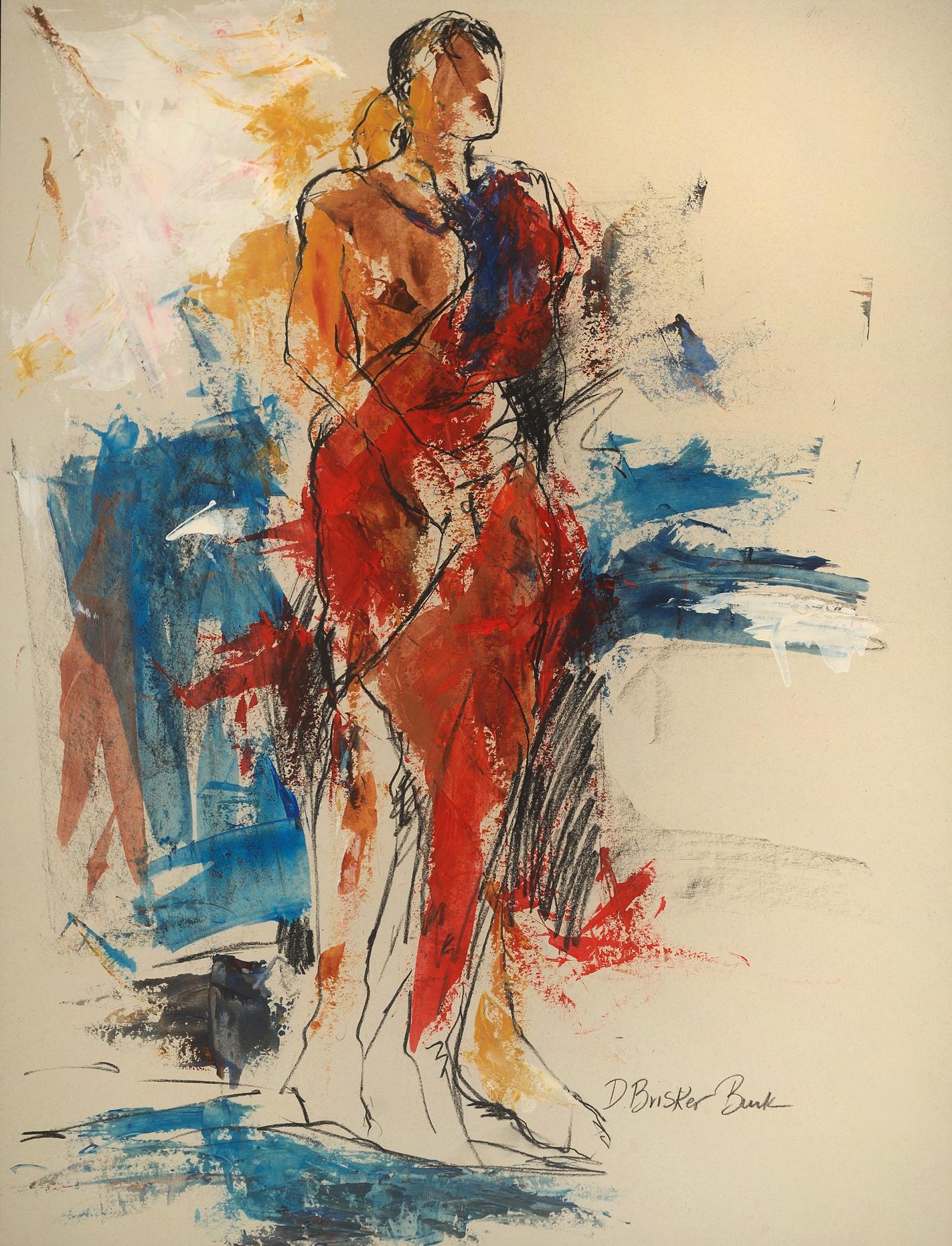 Bodyscape II 26X20 male figure mixed media on paper by Deborah Brisker Burk - large