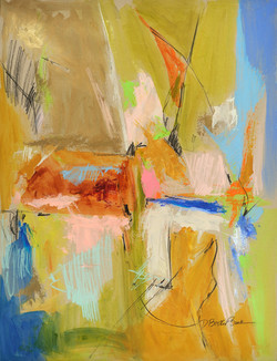 Extensions XII (abstract) 26X20 mixed media on paper by Deborah Brisker Burk - large