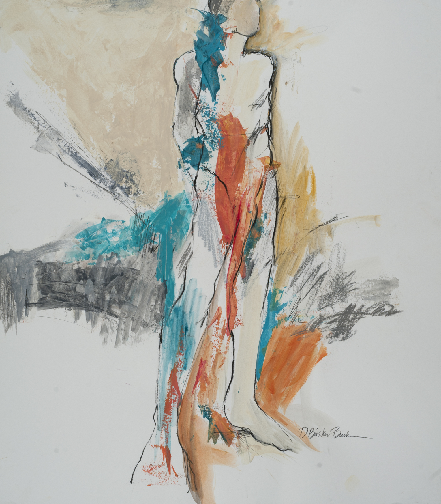 Formscape I standing male w_ turquoise and warm tone, 26X20 by Deborah Brisker Burk