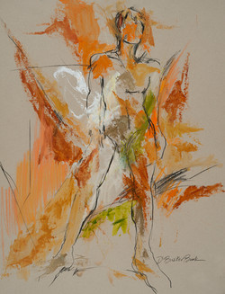 Bodyscape VII with orange and green, 26X20 Deborah Brisker Burk