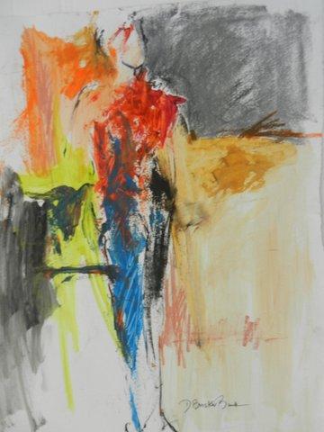Malescape VI Heart Fire 20X26 mixed media on paper