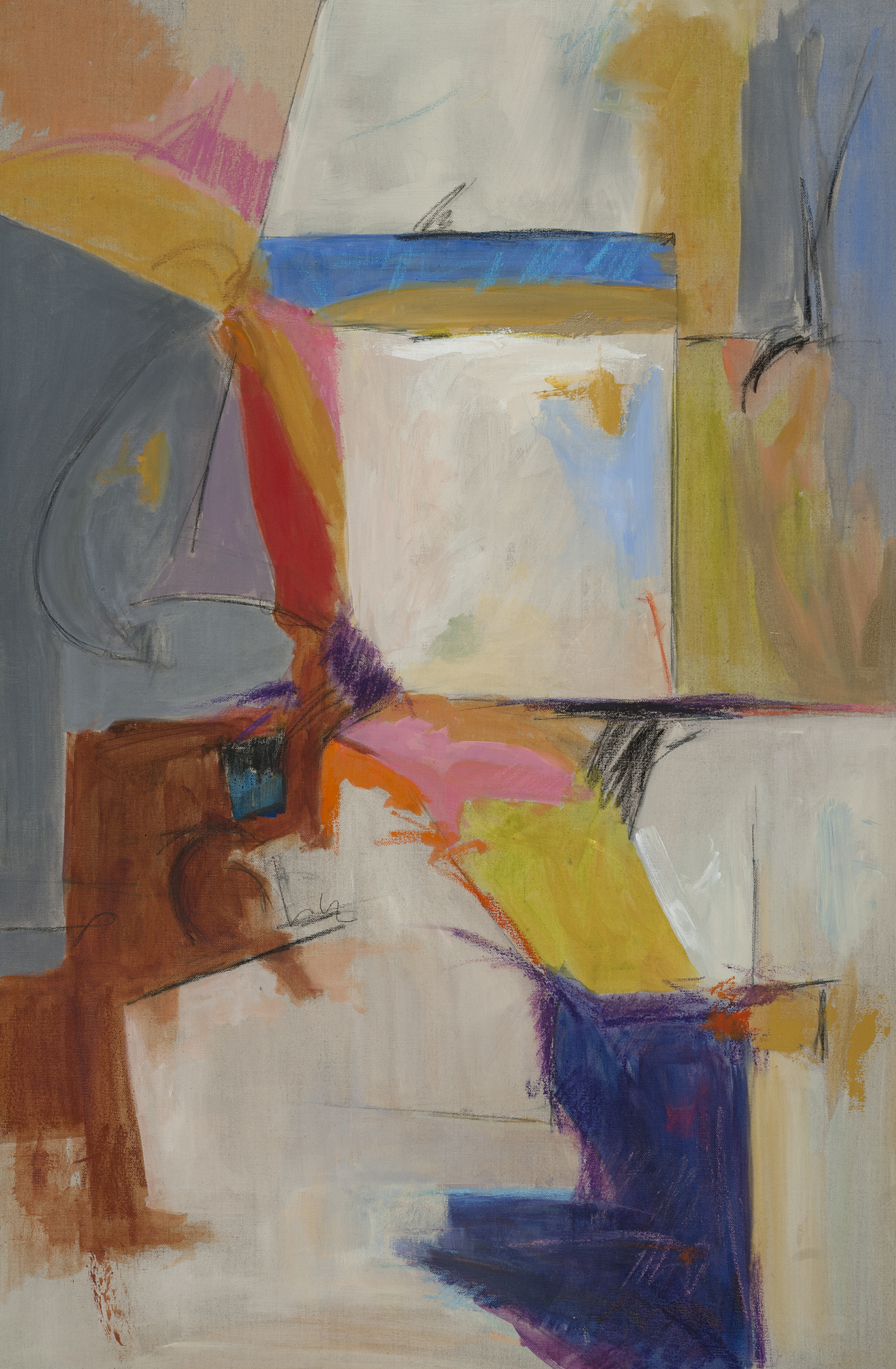 Regarding Markings III w_ square, 36X24, on canvas by Deborah Brisker Burk