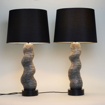 Twisted Table Lamp Pair