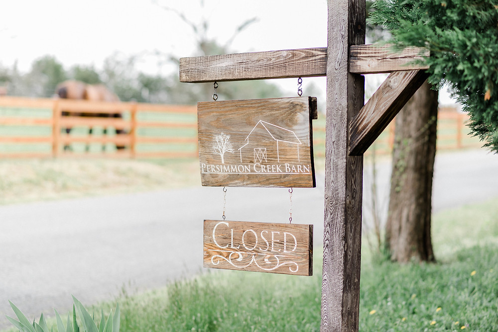 Persimmon Creek Barn sign at the front