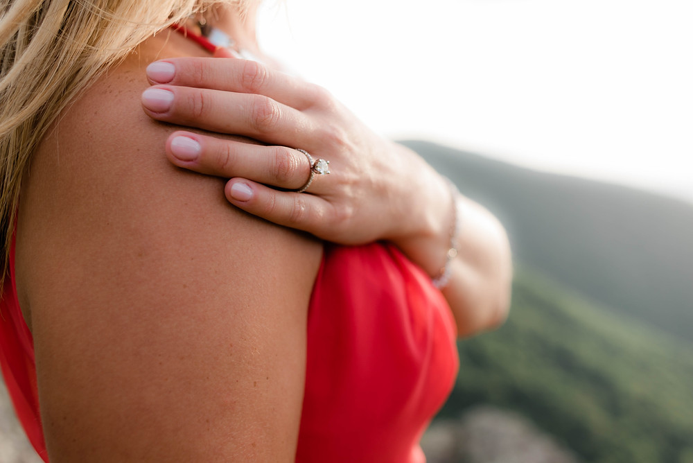 A portrait of the engagement ring.