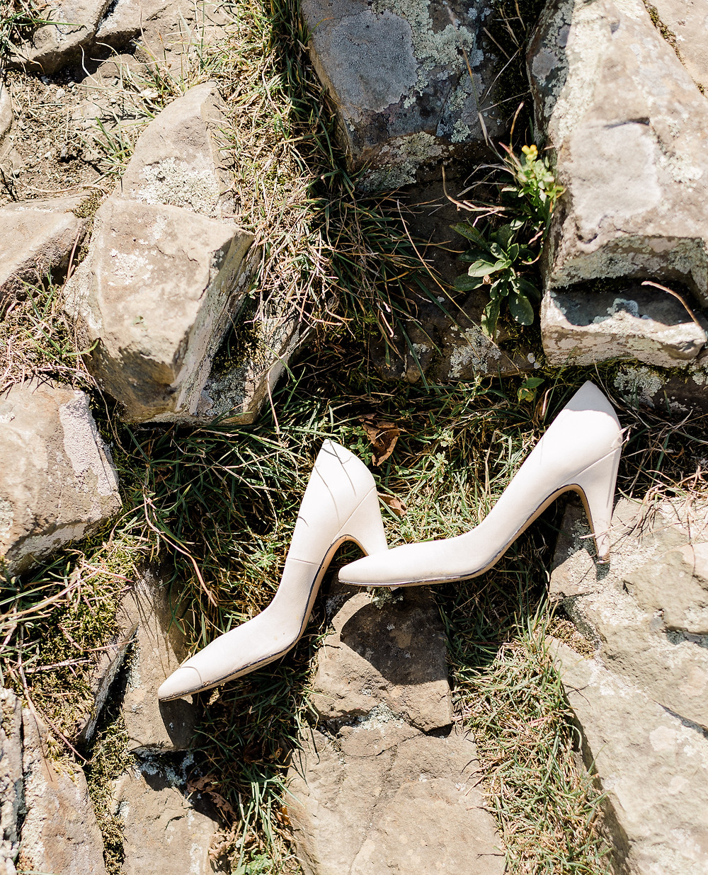 The bride's shoes- the barefoot bride.