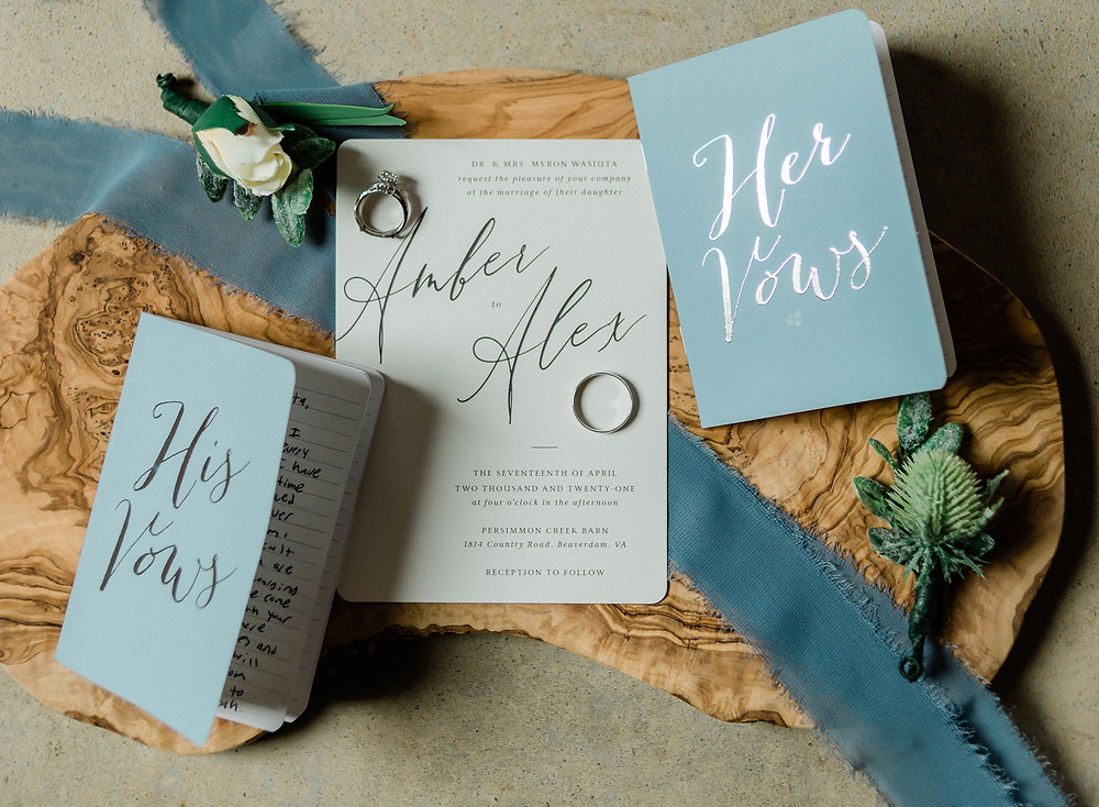 His and her vow books   Ring portraits