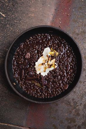 Dark Lentil Soup with Horseradish Cream & Browned Butter Leeks