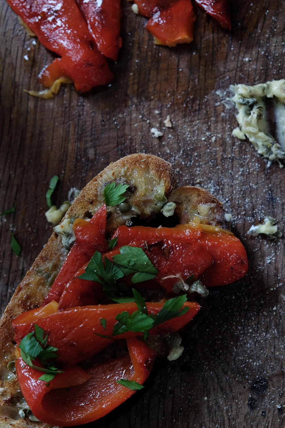 ANCHOVY BUTTER AND GRILLED RED PEPPERS