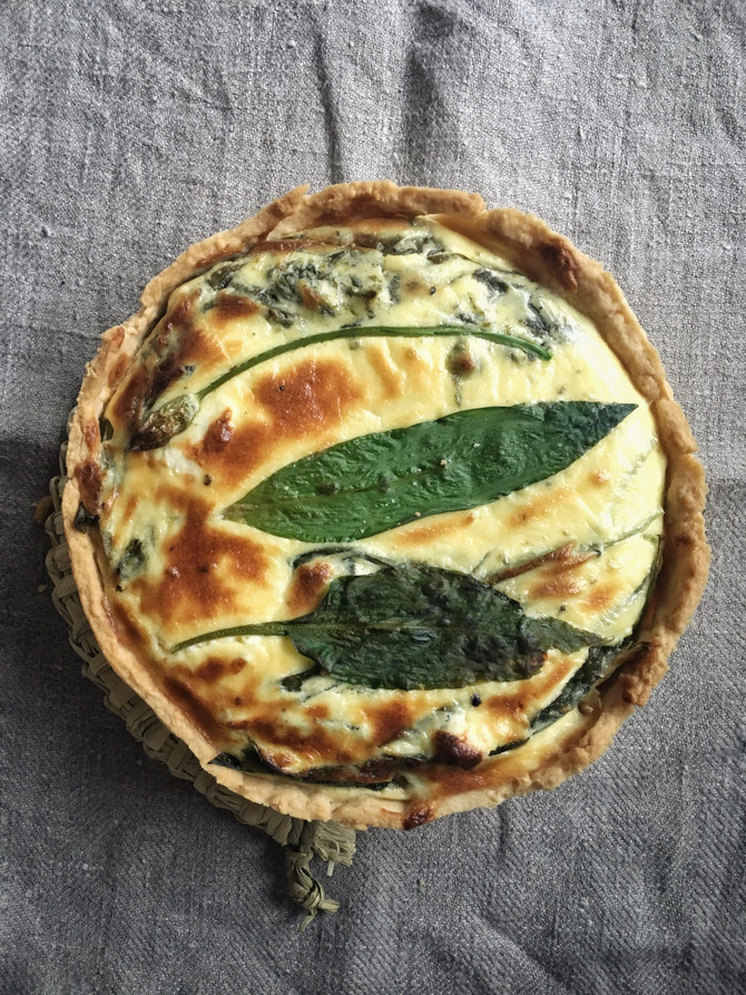 Soft Curd, Wild Garlic & Sorrel Tart