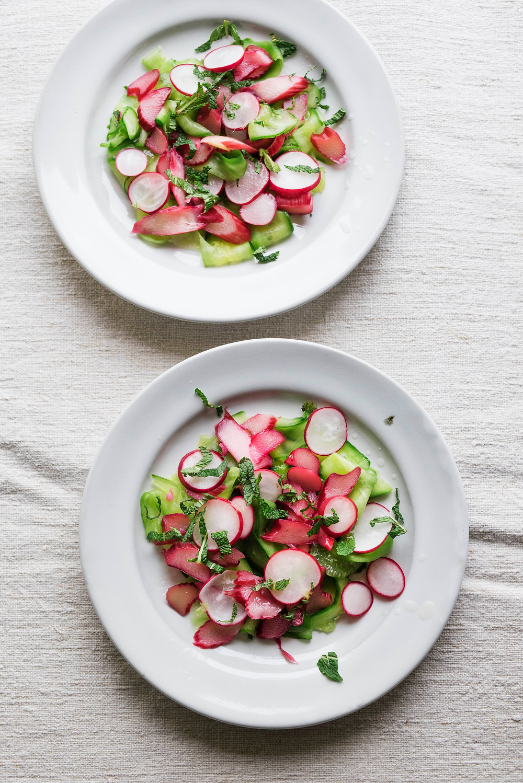raw rhubarb, cucumber & radish salad