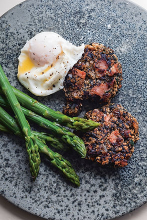 Laver & Oatmeal Pancakes with Asparagus & Poached Egg