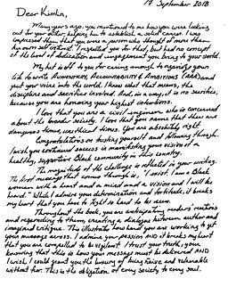 AAA letter to Kimlin