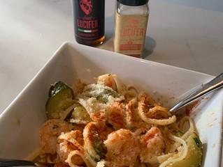 Saint Lucifer Shrimp and Zucchini Scampi Linguini