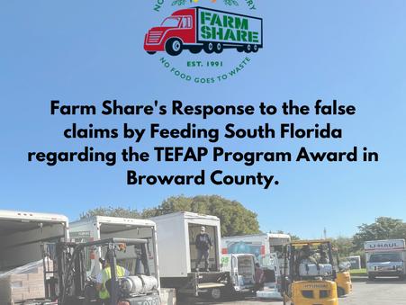 Farm Share Defends itself versus Feeding South Florida