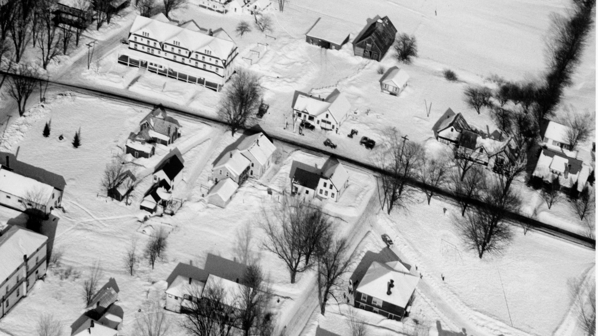 Village Area - Bartlett Hotel - Howards Texaco center and Bartlett High School lower right