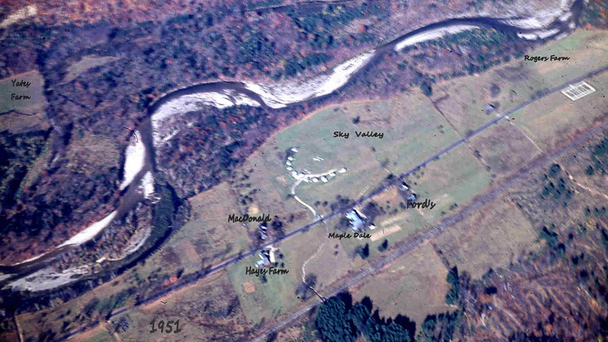 Village Area -  Saco River.  Nearly all this land south of the Saco river was the Obed Hall Farm in the early 1800's. He also operated a Tavern located where today's park is in the Village.
