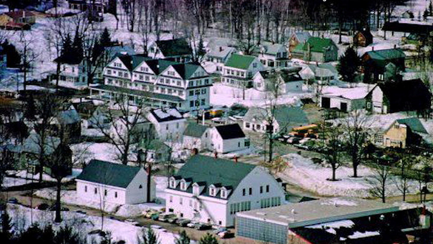 Village Area - 1983 courtesy Roger Marcoux - school in foreground - Hotel  top left -