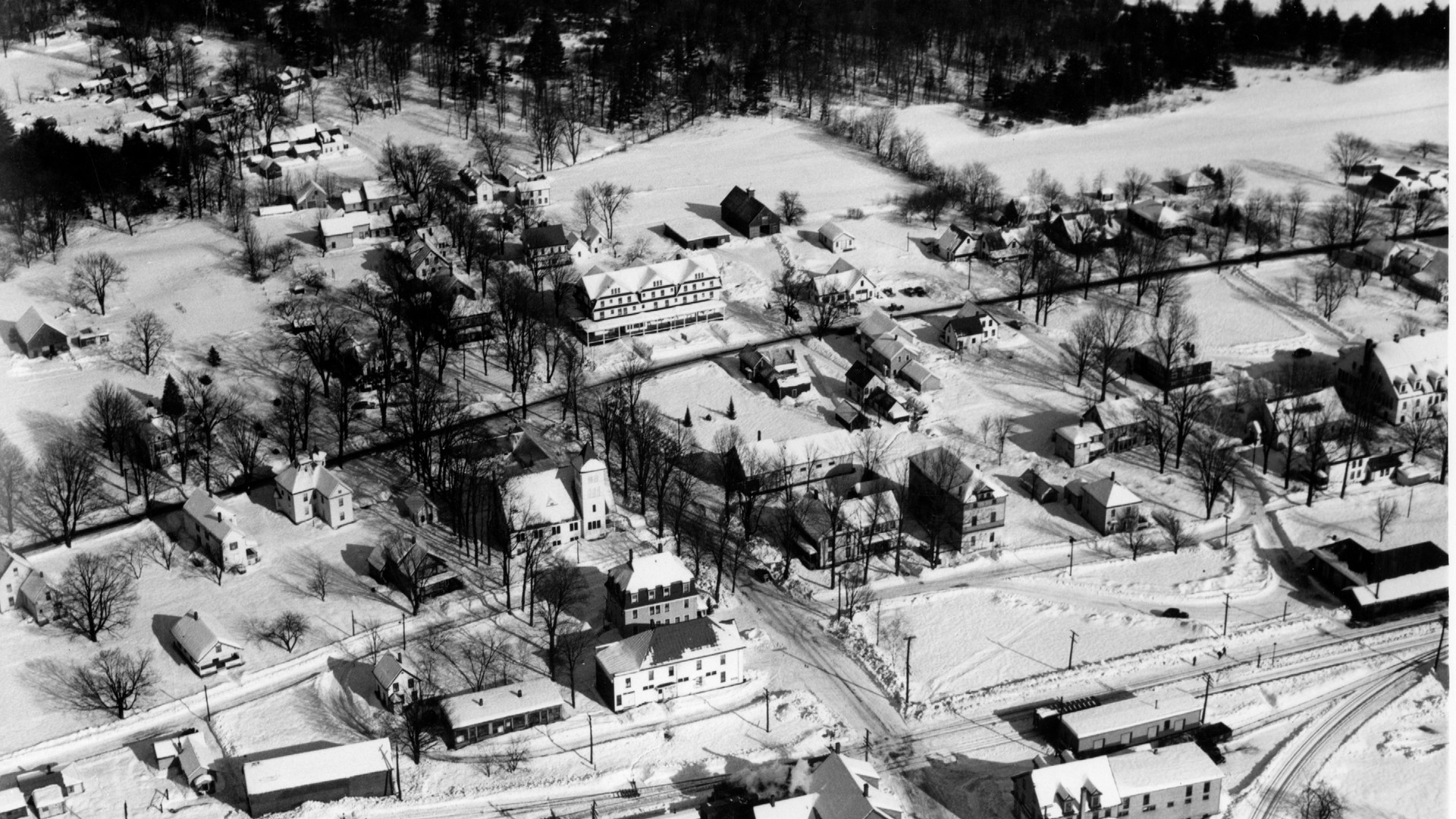 Village Area - Town Center -RR Station and school at far right side - Garland House and Thurston's Store bottom center