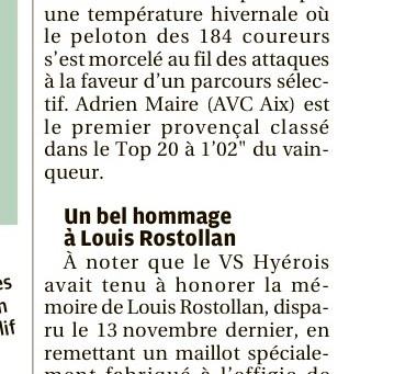 LA PRESSE DU JOUR PARLE DE LA 1ère EPREUVE DES BOUCLES DU HAUT-VAR