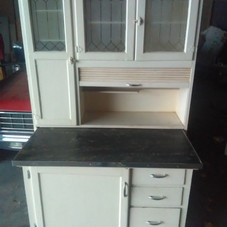 Hoosier Cabinet with Etched Glass