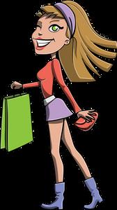 Ein Repräsentant der Zielgruppe: ein fröhliches Mädchen mit der Tasche in der Hand