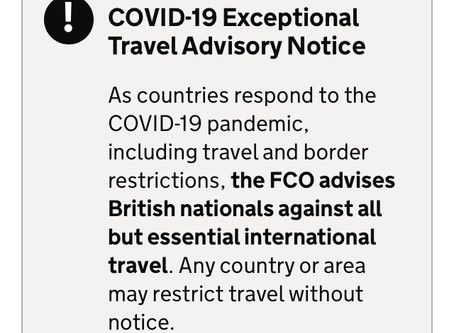 FCO advises against non-essential overseas travel - 17th March 2020