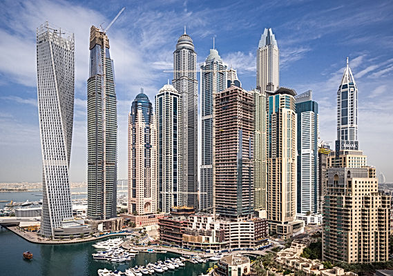 Panoramic view of Dubai skyscrapers promoting business travel cover