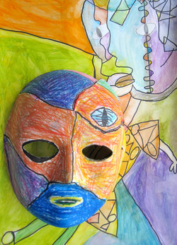 Mask and Painting by Justin age 8