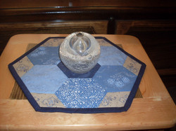 denim blue and brown table topper 006