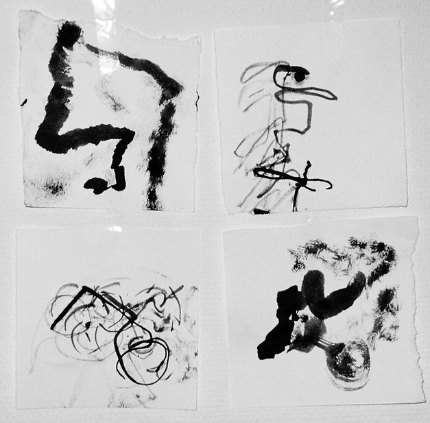Drawings of pathways to home with closed eyes