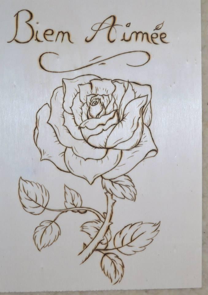 Rose pyrogravure