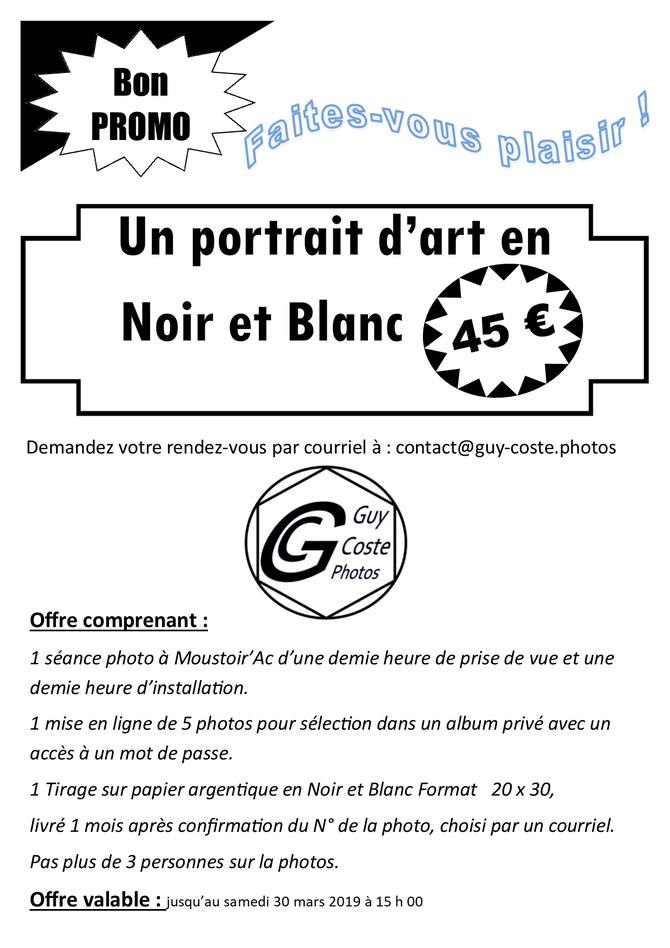 Promo Portrait d'art en Noir et Blanc
