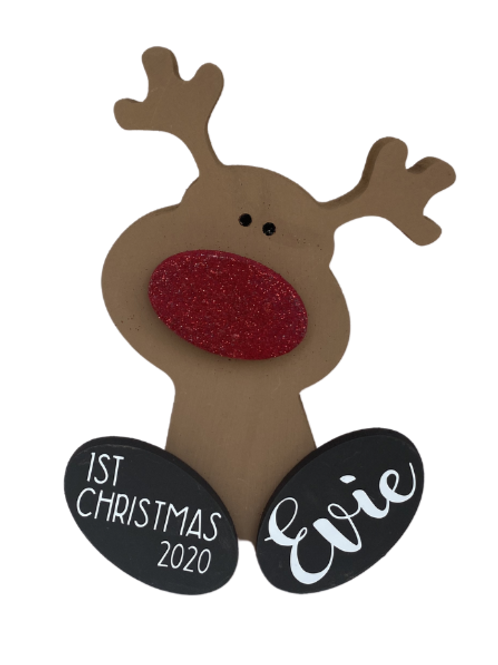 Cute Personalised Wooden Reindeer
