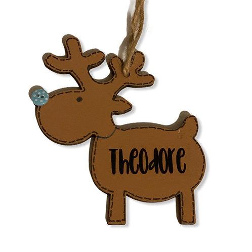 Personalised Hanging Reindeer Tree Decoration