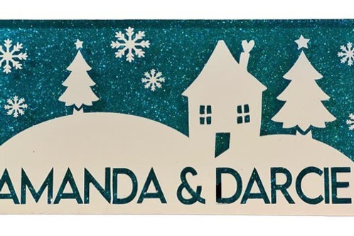 Personalised Christmas scene sparkly tile