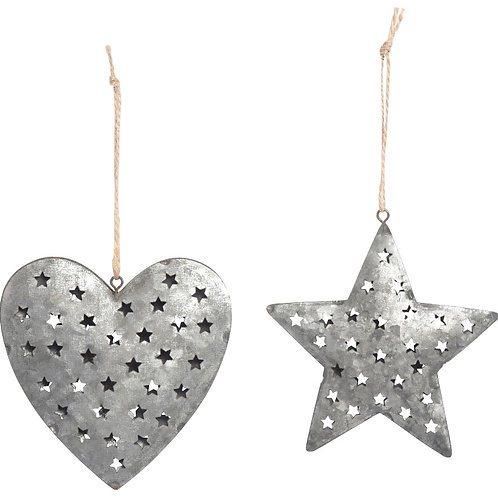Zinc cut out Heart/Star