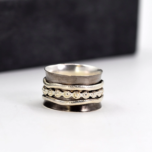 'Nancy' oxidised Sterling Silver spinning ring